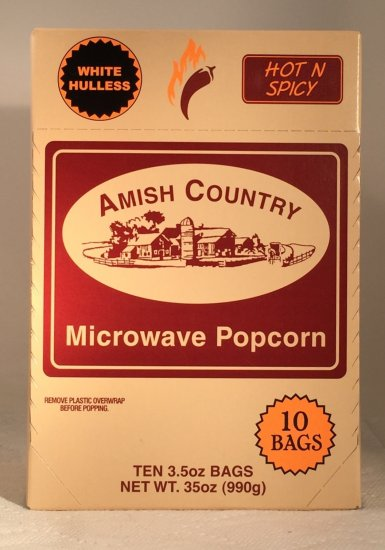 Amish Country Microwave Hot and Spicy Popcorn - 10 packs - Click Image to Close