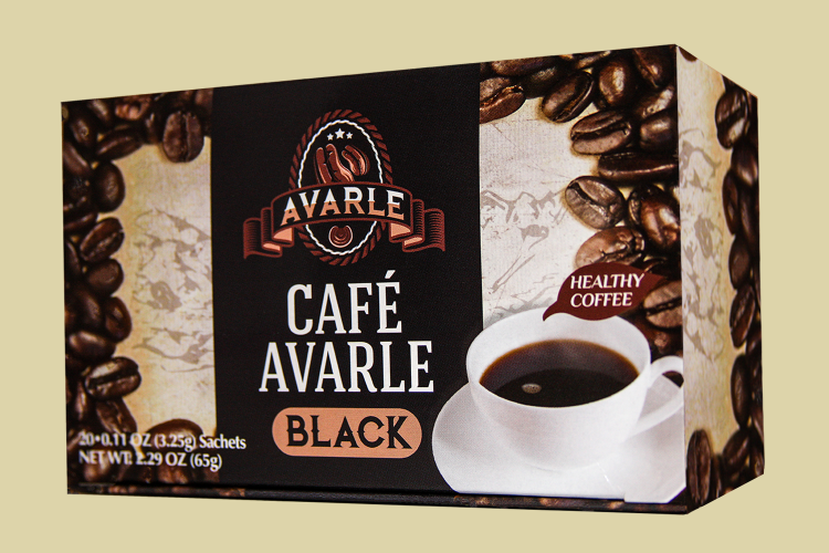 Cafe Avarle Black Healthy Coffee with Ganoderma & Cordyceps - 20 packs - Click Image to Close