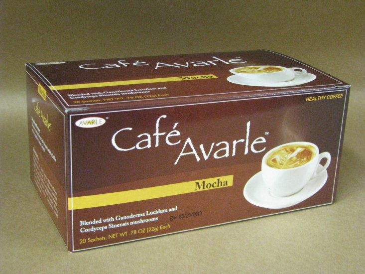 Cafe Avarle Healthy Mocha with Ganoderma & Cordyceps - 20 pks - Click Image to Close